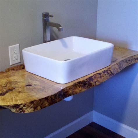 slab sink curly maple slab vanity with kraus vessel sink