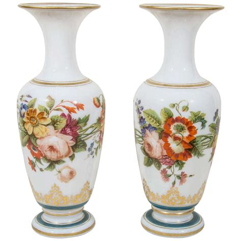 Painted Glass Vases Pair Of Antique Opaline Glass Vases With Hand Painted