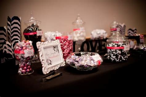 black white buffet pin buffet black and white with fuschia wedding cake on