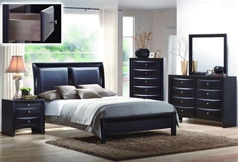 black bedroom sets queen black wood leatherette queen panel bedroom set modern
