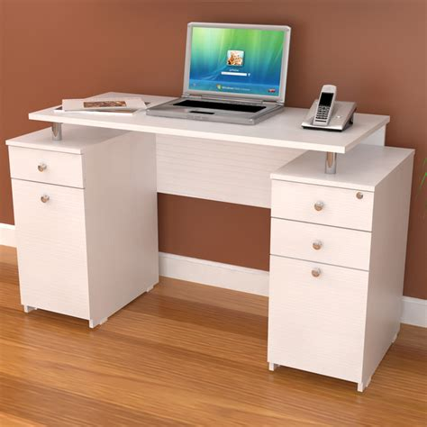 Inval White Modern Straight Computer Writing Desk With Computer Desk With Locking Drawer