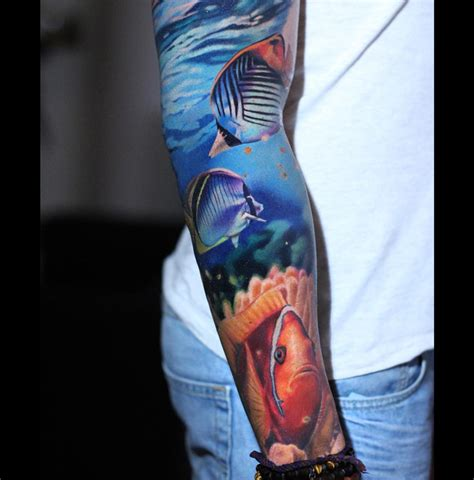 underwater tattoo sleeve colorful tropical fish mens underwater sleeve best