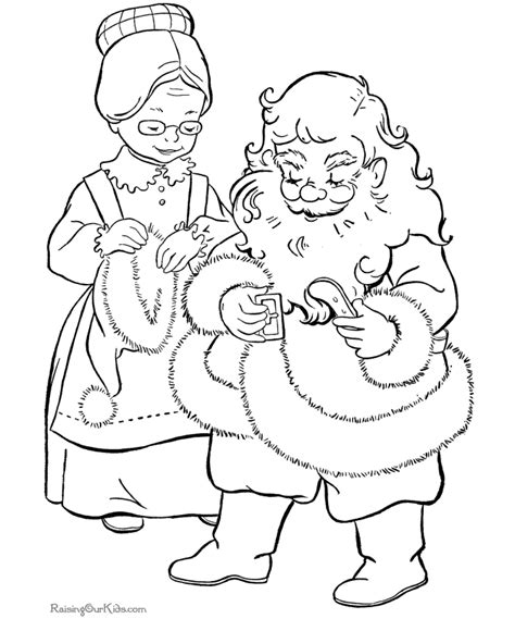 Coloring Pages Of Santa And Mrs Claus | mrs claus helps santa christmas coloring page