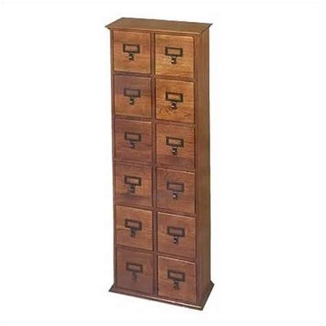 40 quot 12 drawer 144 cd media storage cabinet in oak