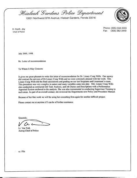 Enforcement Letter Of Recommendation Enforcement Recommendation Letter Sle