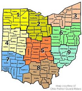 Ohio District Map by Ohio Districts Map Ohio Patriot Bikers
