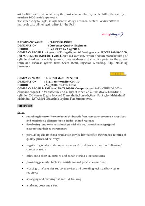 Aeronautical Engineering Resume Sles Resume Sales Engineer