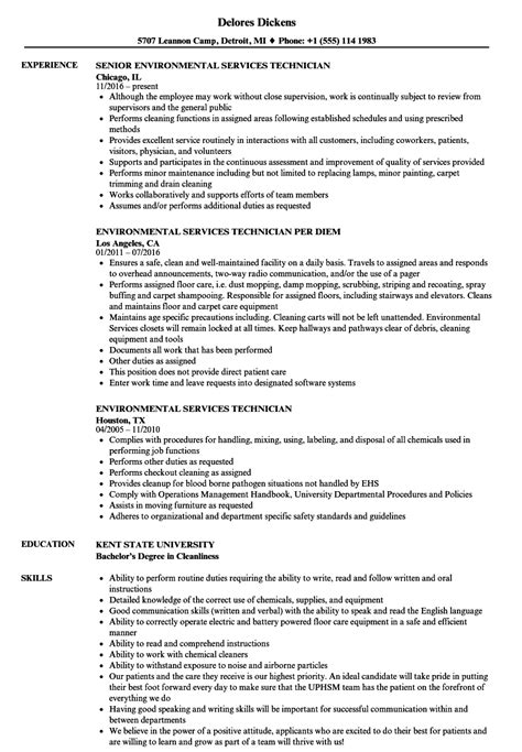 environmental services resume sle environmental technician resume balance tasks