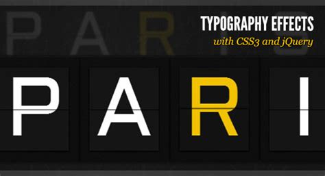 Typography Tutorial Css | typography effects with css3 and jquery
