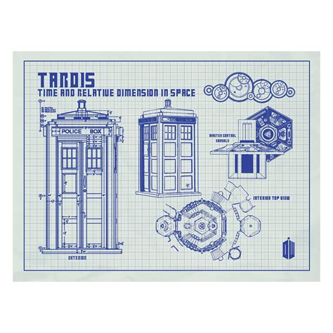 tardis floor plan doctor who tardis 24 quot w x 18 quot h blue grid inked