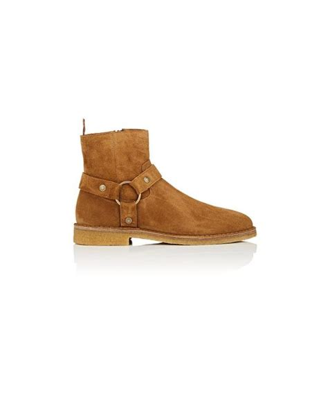 nevada rubber st laurent nevada suede ankle boots in brown lyst