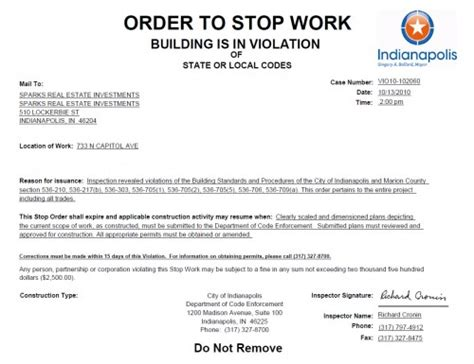 stop work order stop work order posted at the di rimini urban indy