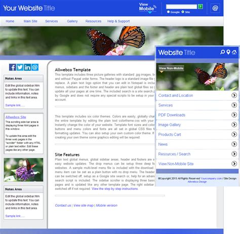 Blue White Chrome Butterfly Website Template Sle Mobile Version White Website Templates