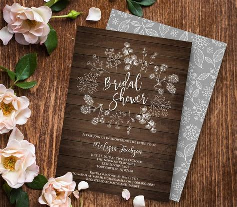bridal shower invitation printable diy rustic wood wreath - Rustic Bridal Shower Diy