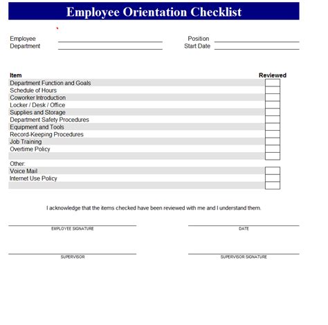 new employee orientation checklist 2012 template sle