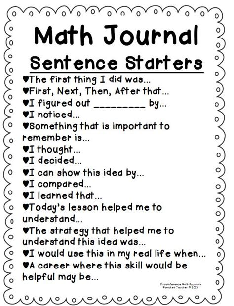 printable math journal prompts for first grade classroom decor ideas to all my kindergarten and 1st