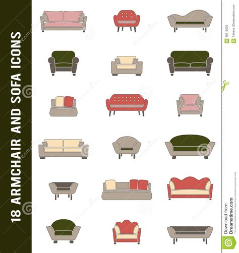 types of couches names vector sofa and armchair icons in retro colors stock