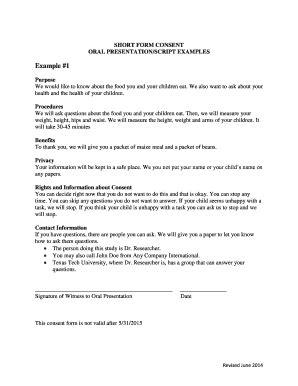Oral Presentation Exle Fill Online Printable Presentation Script Template