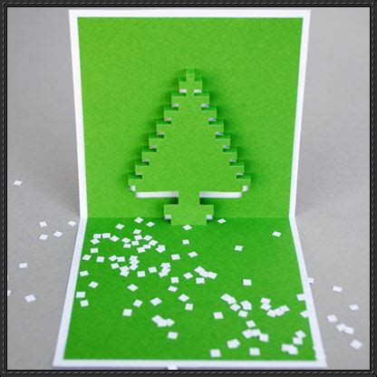 christmas pixel pop up card papercraft series template and