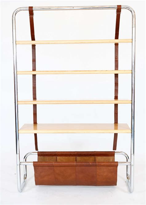 Large Wall Bookshelf Large Leather And Oak Wall Shelf By Luigi Massoni For Sale