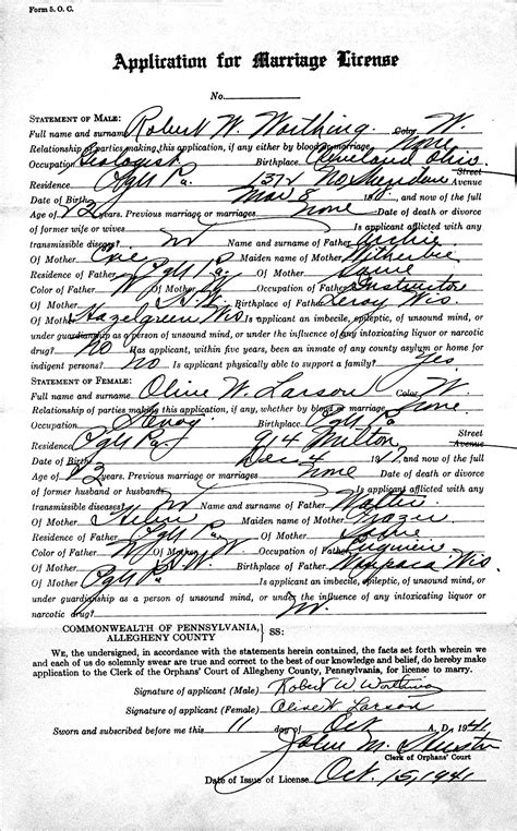 Allegheny Marriage License Records Allegheny Pennsylvania Marriage License Images