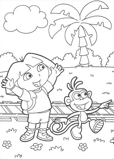 coloring pages boots the monkey dora explorer coloring pages print free