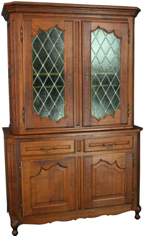 Oak Hutch With Glass Doors vintage country oak china cabinet hutch bookcase green lead glass doors ebay