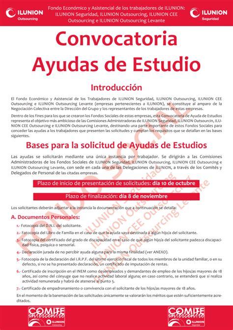 convocatoria de ayudas y bases para el fomento de la seccion sindical ccoo ilunion seguridad madrid