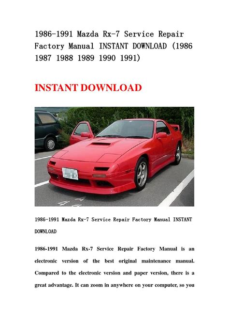 service repair manual free download 1989 mazda b2600 instrument cluster 1986 1991 mazda rx 7 service repair factory manual instant download 1986 1987 1988 1989 1990