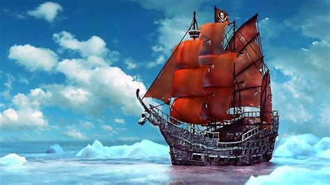 pirate boat pirate ship ice snow ship ships boat boats pirates ocean