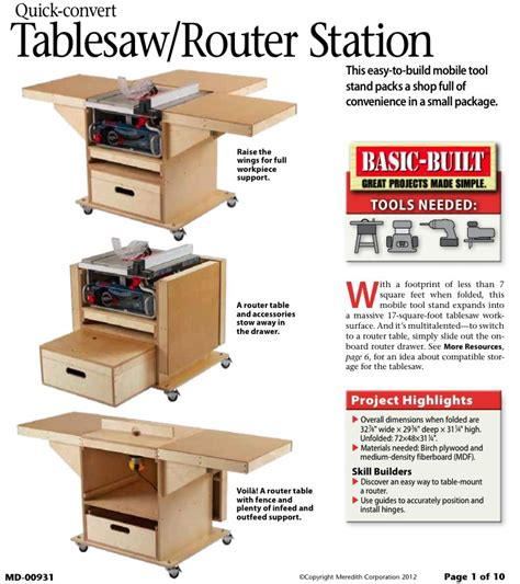 table saw plans 31 md 00931 convert tablesaw router station