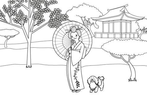 imagenes japonesas para pintar princesa japonesa dibujo para colorear e imprimir