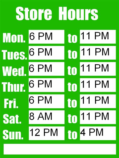store hours sign template free hours sign template calendar template 2016