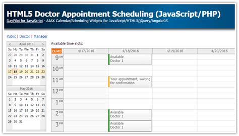 HTML5 Doctor Appointment Scheduling (JavaScript/PHP/MySQL