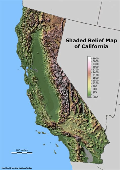 california relief map geology cafe