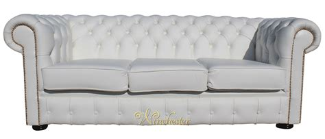 Chesterfield Sofa White Leather Chesterfield 3 Seater Sofa Settee White Leather Brass Studs