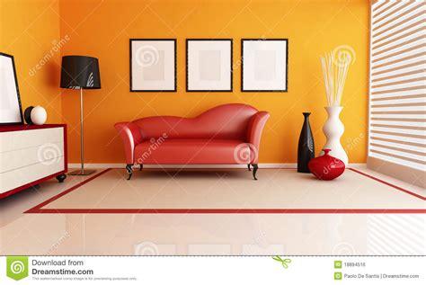 rotes wohnzimmer orange und rotes wohnzimmer lizenzfreies stockbild bild
