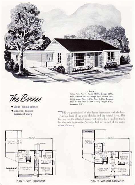 small american house plans 1952 barnes plan national plan service mid century modern small scale american