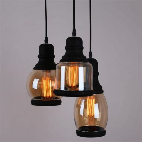 Glass Jar Pendant Lights Glass Jar Pendant Lighting With 3 Lights Black