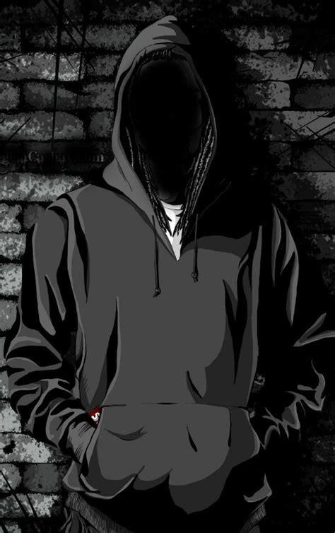 hooded man seni gelap  animasi seni jalanan