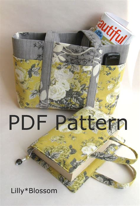 tote bag pattern books pdf book bag and tote sewing pattern set by lillyblossom