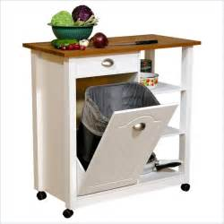venture horizon double butcher block mobile island bin
