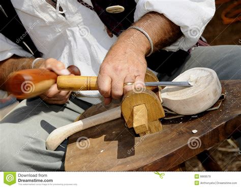 carving wood spoon royalty  stock images image