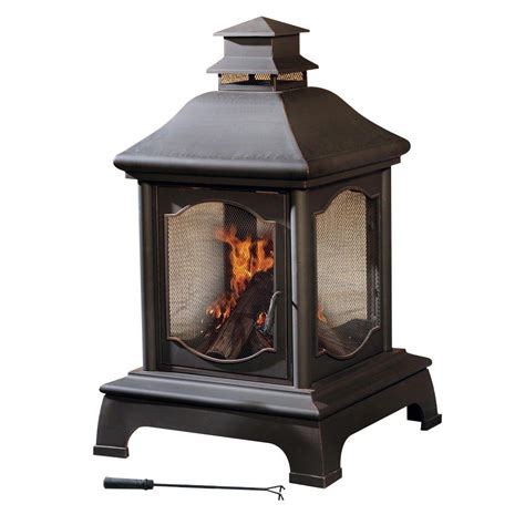 chiminea indoor fireplace sunjoy louise 48 in chiminea l cm057pst the home depot