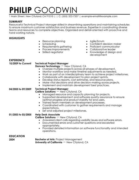 resume exles technical best technical project manager resume exle livecareer