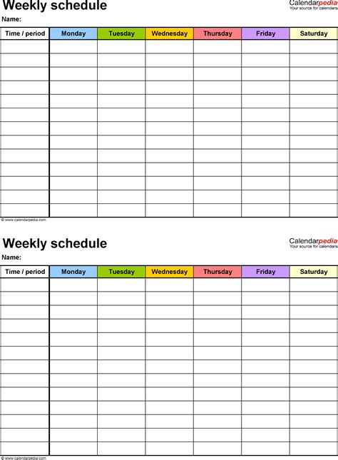 weekly schedule template  word version   schedules   page portrait monday