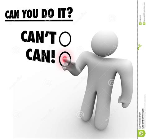 can vs cant person choosing positive answer touch screen