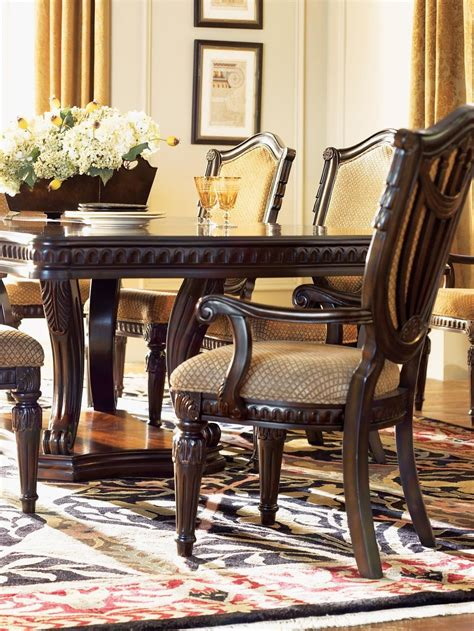 Grand Estates Dining Room Set by Grand Estates Cinnamon Extendable Pedestal Dining