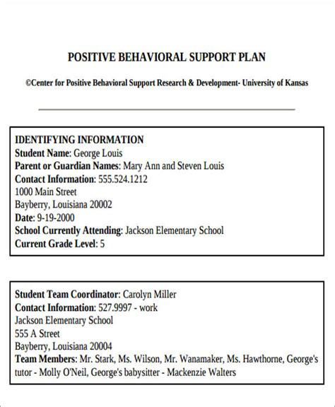 6 Behavior Intervention Plan Exles Sle Templates Behavior Intervention Plan Template