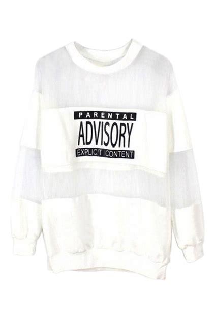 Panel Lettering Sweatshirt romwe romwe letters print mesh panel white sweatshirt